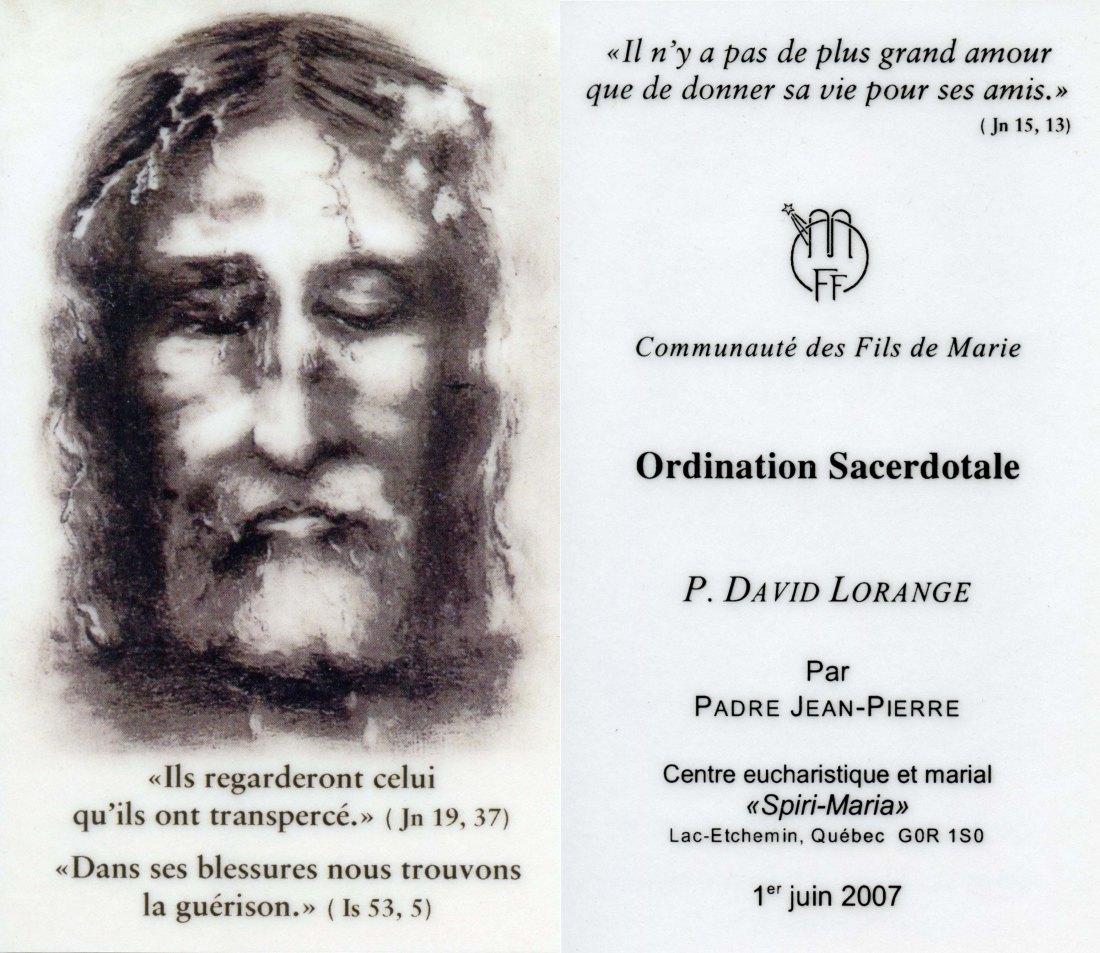 Image-souvenir ordination sacerdotale (recto-verso)