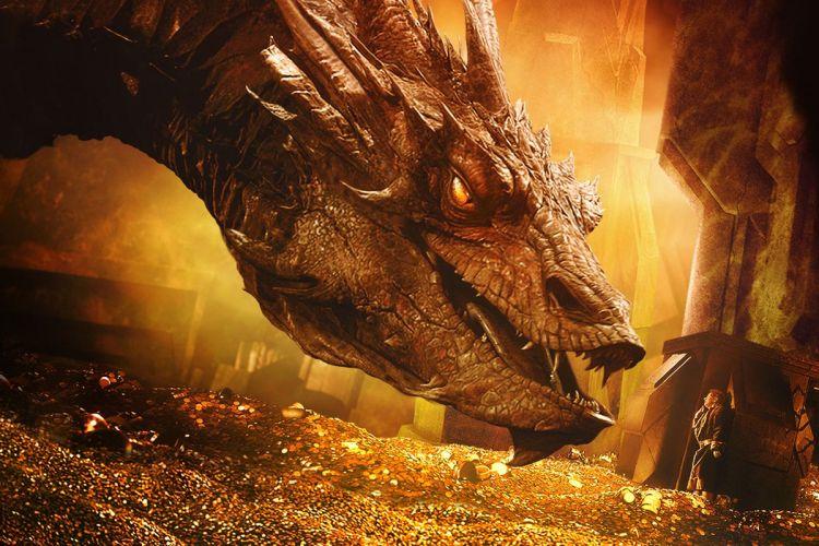 Le trésor d'Erebor: confrontation de Smaug le Dragon et de Bilbon le Hobbit (source: IMDb).