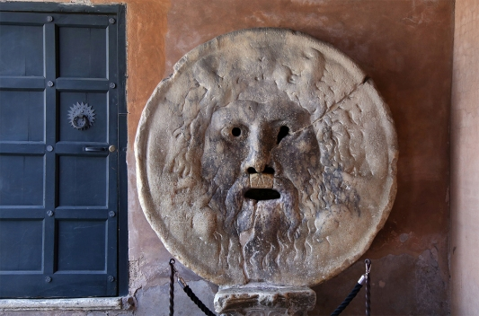 Bocca della Verita, The Mouth of Truth, Church of Santa Maria in Cosmedin in Rome, Italy