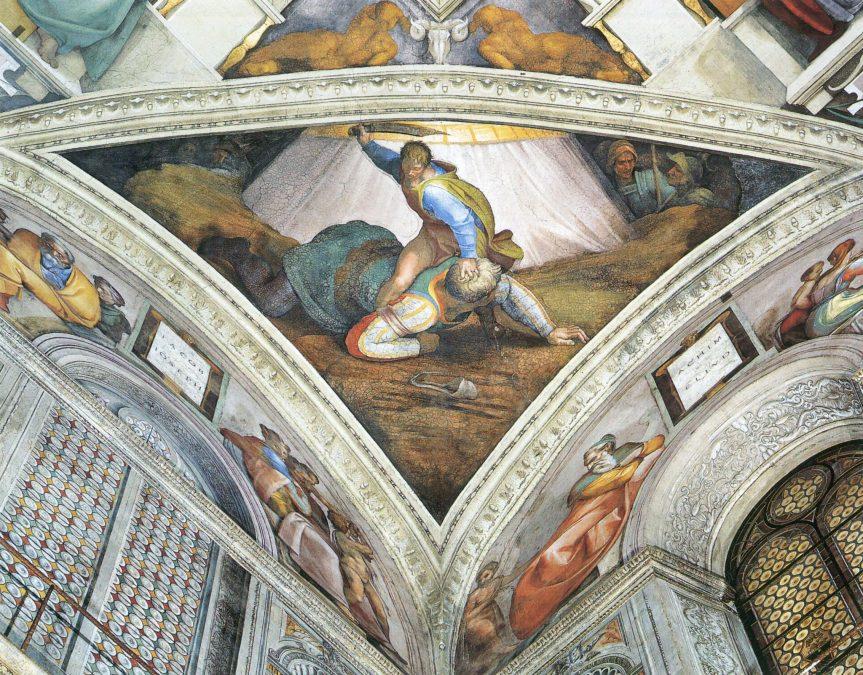 Chapelle-Sixtine-Michelangelo-David-et-Goliath